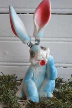 Early Vintage Chalkware Easter Bunny Rabbit,  Bobble Head/Ears Spring, Easter