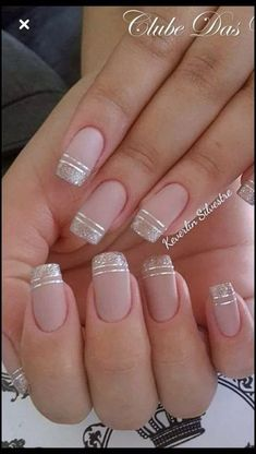 nails - NagelDesign Elegant ( Maravilhosa Caroline Fo ) caroline elegant manicure maravilhosa na Cute Acrylic Nails, Cute Nails, Pretty Nails, Gel Nails, Gold Tip Nails, Acrylic Tips, Nail Nail, Square Nail Designs, French Nail Designs