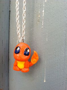 Pokemon Necklace- Charmander Polymer Clay Charm Polymer Clay Miniatures, Fimo Clay, Polymer Clay Creations, Pokemon Jewelry, Pokemon Necklace, Polymer Clay Necklace, Polymer Clay Charms, Clay Projects, Clay Crafts