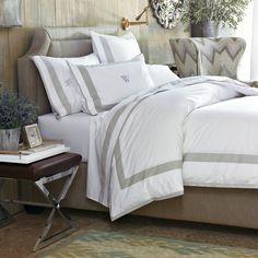 Percale Border Bedding, Cases, Pair, Standard, Light Gray