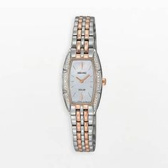 Rose Gold Two Tone Stainless Steel Solar Quartz Mother of Pearl Dial Swarovski Crystals | WatchCorridor