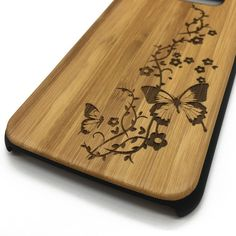 Butterfly Engraved Wooden Wood Phone Case Cover for iPhone Samsung S   jiacase