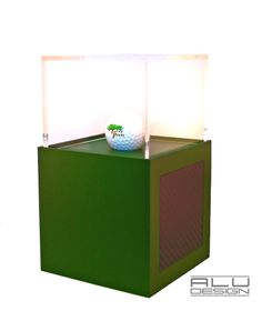 COURSE RECORD or LOW ROUND or HOLE IN ONE or 1ST PLACE A Modern Golf Ball Display Trophy Case Anodized Green Aluminum with Black Carbon Fiber look. Modern Golf Ball Display. Designed and Manufactured in San Diego California USA by ALU DESIGN modern golf accessories