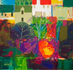 Autumn Village - George Birrell, mixed media, 30x30 cm, pounds 1,450