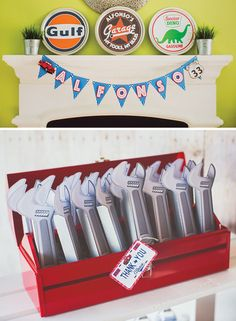 Vintage Garage Inspired Adult Birthday Party. Hostess with the Mostess®