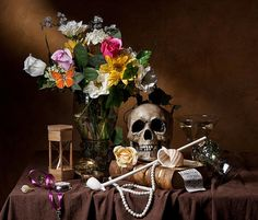 Vanitas With Flowers Bouquet-skull-hourglass-clay Pipe And Glassware Print By Levin Rodriguez Still Life Photos, Still Life Art, Vanitas Paintings, Vanitas Vanitatum, Clay Pipes, Beautiful Bouquet Of Flowers, Classic Paintings, Thing 1, Halloween Skull