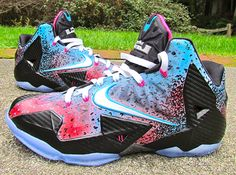 Nike Lebron 11 MIAMi nights flashback just win customs!!!!!!