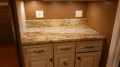 Golden River granite kitchen countertop install for the Cardwell family. Knoxville's Stone Interiors. Showroom located at 3900 Middlebrook Pike, Knoxville, TN. www.knoxstoneinteriors.com. Estimates available, call 865-971-5800.