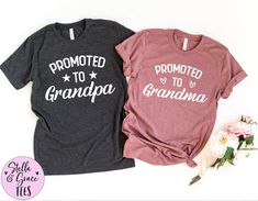Pregnancy Announcement Grandparents, New Grandparents Shirt, Promoted to Grandma Shirt, Baby Announcement Shirts for Grandma and Grandpa Grandma And Grandpa, Mom And Dad, Grandparent Pregnancy Announcement, Pregnancy Announcements, Aunt Shirts, Baby Shirts, Sibling Shirts, Daddy, Flannels