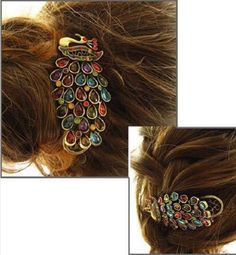 Girls Women Vintage Colorful Rhinestone Peacock Hairpin Hair Clip Band WCA038 #Unbranded #HairClip