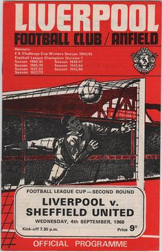 Liverpool 2 Swansea 0 in Sept 1968 at Anfield. The programme cover for the League Cup Round clash. Liverpool goalkeeper Ray Clemence makes his debut. Pure Football, Football Soccer, Soccer Teams, Retro Football, Fc Liverpool, Liverpool Football Club, Liverpool Goalkeeper, Football Challenges, Coventry City Fc