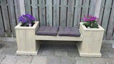 Combinatie tuinbank met bloembak van steigerhout!
