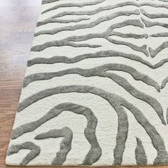 Safari Contemporary Zebra Print With Faux Silk Highlights Grey Rug | Love  This For Either The