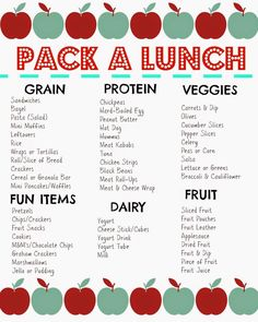 Lunch Box Ideas (Printable)