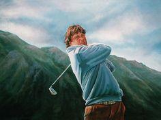 Realistic acrylic painting of professional Dutch golfer Robert Jan Derksen, painted by the Dutch fine artist Paul Meijering - 90 x 120 cm - sold