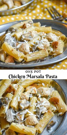 One Pot Chicken Marsala Pasta , By Paula Michele . The classic marsala you crave, in a quick, easy, creamy one pot pasta meal. Easy Soup Recipes, Chicken Recipes, Cooking Recipes, Pizza Recipes, Skillet Recipes, Cooking Gadgets, Dinner Recipes, Chicken Marsala Pasta, Chicken Marsala Crockpot