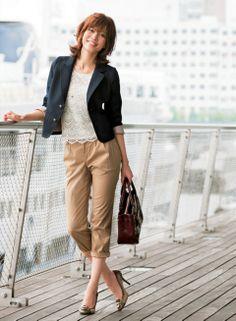 紺ブレ×チノの王道トラッドはタッセル靴で完璧 | ファッション コーディネート | with online on ウーマンエキサイト