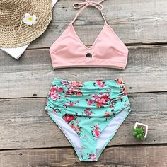 Soak up the warm sun in our Pink And Floral High-waisted Bikini. Our v-neck pink bikini top features removable padded cups for added suppor and halter straps for the perfect fit. Matching high-waisted bikini bottom is ruched for the most flattering fit. Bikini Modells, Bikini Tops, Pink Bikini, Floral Bikini, Swimsuit Fabric, Bikinis For Sale, Two Piece Swimwear, High Waisted Bikini Bottoms, Beach Girls