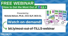This free webinar focuses on using design features unique to TILLS that allow you to assess a student's oral and written language using a scientifically sound quadrant model. Watch it today! Writing Skills, Assessment, Literacy, Language, How To Get, Student, Watch, Unique, Model