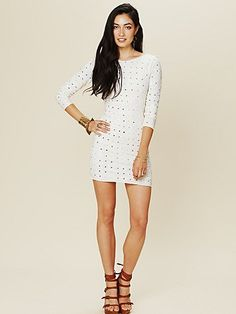 Long Sleeve Embellished Party Dress