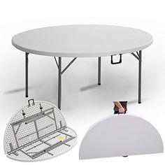 825d862abf1300 Anaelle Panana Table Camping Ronde Buffet Traiteur Pliante en Polyéthylène  avec Poignée sur Maison, Traiteurs