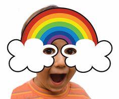 Cute for photo booth prop Rainbow Birthday Party, Rainbow Theme, Rainbow Art, Printable Masks, Free Printables, Mardi Gras, Sant Patrick, March Crafts, Unicorn Photos