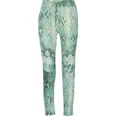 Pierre Balmain Snake-print silk slim-leg pants ($341) ❤ liked on Polyvore featuring pants, trousers, green, snakeskin pants, python pants, print pants, snakeskin print pants and slim leg pants