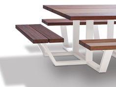 Mesa de picnic cuadrada con bancos integrados CARRÉ - CASSECROUTE                                                                                                                                                                                 Más