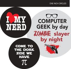 Nerd -  1 inch circle/25mm Bottle Cap Images - Digital Collage Sheet - INSTANT DOWNLOAD (3.95 USD) by BehindTheDoor