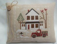 Pickup Truck Farmhouse Christmas Cross Stitch Mini Pillow Winter Snow