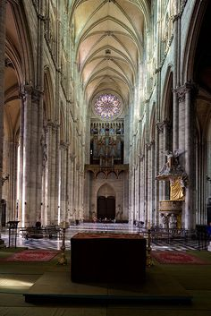 Amiens Cathedral - Nave 144 cubics hight.  144 is the celestial number. Measures from the bible used as blueprints to build the cathedrals. The floor plan the crucifix! Also 60 royal feet hight.. The celestial hight ...