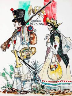 Mexican soldier and soldadera in the as drawn by Mr. Mexican Army, Mexican American War, Military Art, Military History, Texas Revolution, Western Caribbean, Mesoamerican, Mexicans, The Grim
