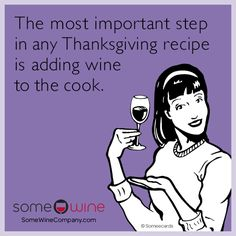 The most important step in any Thanksgiving recipe is adding wine to the cook ! Wine Meme, Wine Funnies, Wine Wednesday, Wine Quotes, Italian Wine, Funny Pins, Funny Stuff, Wine And Spirits