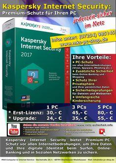 Kaspersky Internet Security 2017 bietet Premium-PC-Schutz vor allen Internetbedrohungen. Egal, ob beim Online-Banking, -Shopping oder beim Surfen in Sozialen Netzwerken: Sie können sicher sein, dass Ihre Daten und Ihre digitale Identität jederzeit geschützt sind.