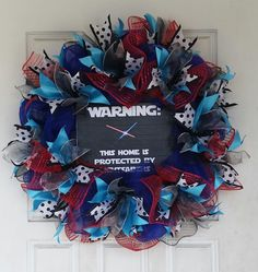 Warning: this home protected by lightsabers Star Wars Deco Mesh Door Wreath fandom