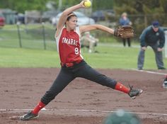 Tamarac pitcher Briana Matazinsky throws during Wednesday's Wasaren League game against Greenwich at Greenwich High School. Matazinsky struck out 20 at Tamarac earned a share of the league title with an 11-inning victory over the Witches. (Ed Burke/For The Record)