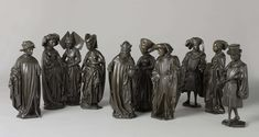 Ten weepers from the tomb of Isabella of Bourbon, attributed to Renier van Thienen, c. 1475-c. 76. http://www.universalcompendium.com/gen_images/ucg/ten%20weepers/ten-weepers-tomb-isabella-bourbon-bronze-figures-renier-van-thienen.htm