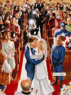 Fantastic Four - the wedding of the Invisible Woman and Mr. Marvel Comics Superheroes, Marvel E Dc, Marvel Comic Universe, Comics Universe, Marvel Heroes, Comic Book Artists, Comic Book Characters, Comic Artist, Comic Character