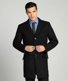 Joseph Abboud : black wool blend notched lapel single breasted empire topcoat : style # 326286501