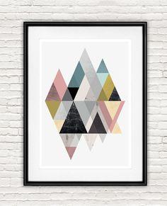 Abstrait impression impression de Triangle aquarelle par handz