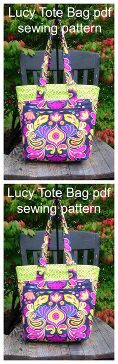Downloadable pdf pattern for The Lucy Tote bag sewing pattern.