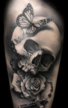 Skull Tattoos For Men | InkDoneRight  You might think that skull tattoos symbolize death. Nothing could be further from the truth! But are you man enough to wear a Skull Tattoos for Men?