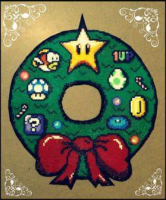 Christmas Mario wreath hama mini beads by Monopilongo