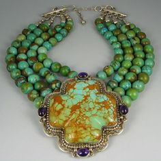 Vntg Navajo DAVID TROUTMAN Turquoise Choker Necklace sold via EBAY $ 1,375.00