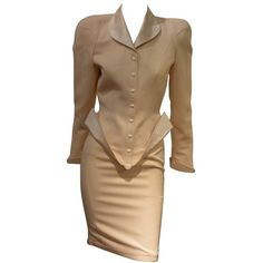 Preowned Rare Sophisticated Early 1990s Thierry Mugler Twopieces... ($1,089) ❤ liked on Polyvore featuring suits, brown and skirt suits