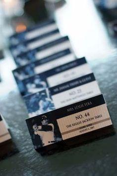 Centerpiece ideas and favors... New York Yankees baseball theme wedding « Weddingbee Boards wedding place cards, sports wedding place cards #wedding #weddings