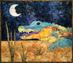 Ally the Alligator Fusible Applique Pattern by coopersquilts Alligator Crafts, Applique Quilt Patterns, Applique Ideas, Snowman Quilt, Raw Edge Applique, Fabric Embellishment, Animal Quilts, Machine Applique, Quilted Wall Hangings
