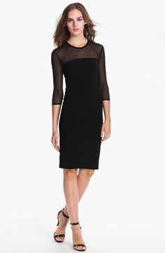 $96. 4th choice  This reminds me of a dress we made Dad buy for Mum once. Mum looked very elegant. This model too tall and skinny. Some curves would help this dress out a lot. KAMALIKULTURE Sheer Yoke Sheath Dress available at #Nordstrom go up one size