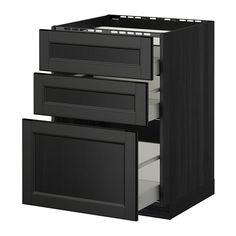 METOD / MAXIMERA Él bas tbl cui/3 faces/3 tiroirs - effet bois noir, Laxarby brun noir, 60x60 cm - IKEA