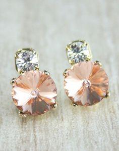 Peach earrings Peach wedding Swarovski crystal